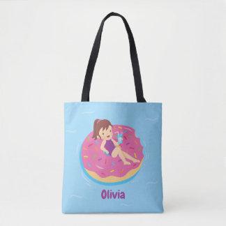 Girl on Yummy Doughnut Pool Float Tote Bag