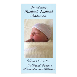 Girl or Boy Baby Announcement Personalized 4x8 Photo Greeting Card