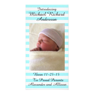 Girl or Boy Baby Announcement Personalized 8x4 Customized Photo Card