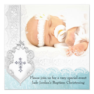 """Girl or Boy Baptism Teal White Lace Photo Cross 5.25"""" Square Invitation Card"""