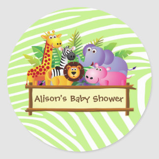 Girl or boy unisex Baby shower jungle safari favor Classic Round Sticker