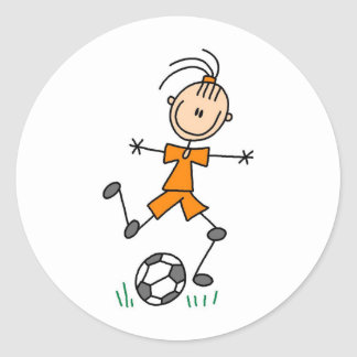 Girl Orange Soccer Uniform Classic Round Sticker