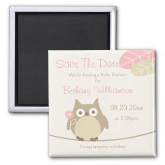 Girl Owl Baby Shower Save The Date Square Magnet