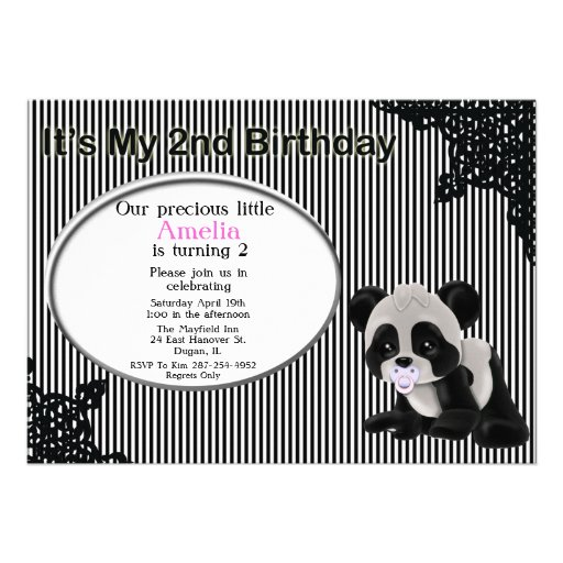 Girl Panda Bear 2nd Birthday Invitation