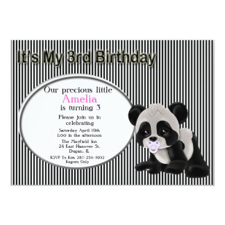 Girl Panda Bear 3rd Birthday Invitation
