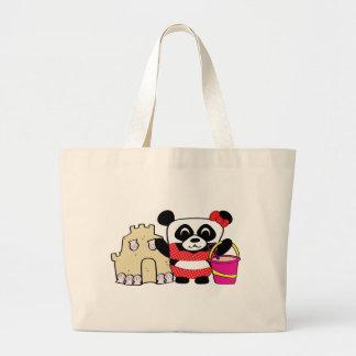 Girl Panda with Sandcastle Jumbo Tote Bag