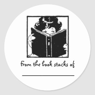 Girl peeking over book~ From the book stacks of... Round Sticker