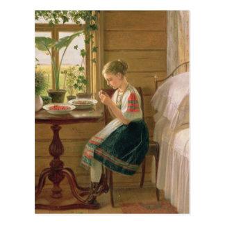 Girl Peeling Berries, 1880 Postcard