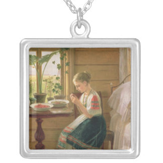 Girl Peeling Berries, 1880 Silver Plated Necklace