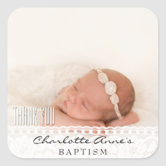 Girl Photo Baptism Thank You Vintage Floral Lace Square Sticker
