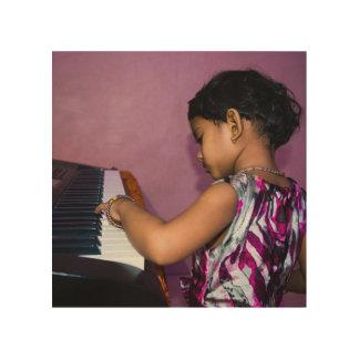 Girl Pianist Playing Piano 8X8 Birch Wood Print