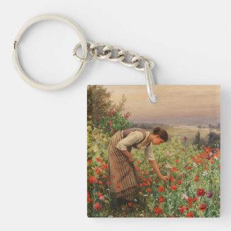 Girl Picking Poppies Keychain