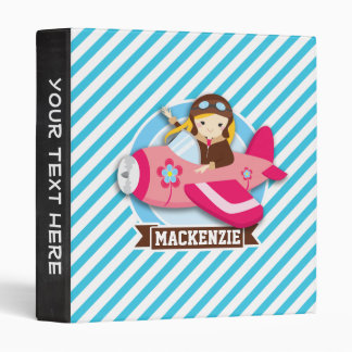 Girl Pilot in Pink Airplane; Blue & White Stripes Binders