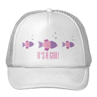 Girl Pink Owl Gender Reveal Baby Shower Trucker Hat