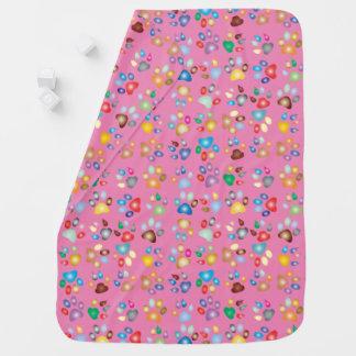 Girl Pink Pastel Cat Paw Print Baby Blanket