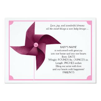 Girl Pink Pinwheel Baby Announcement