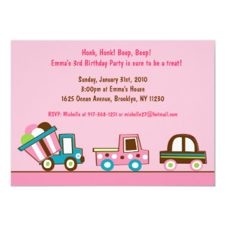 Girl Pink Transportation Birthday Invitations