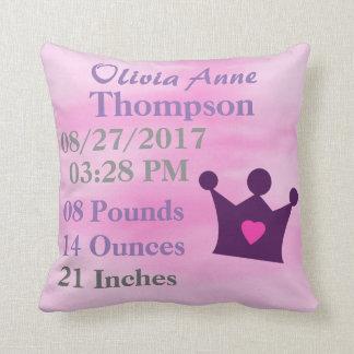 Girl Pink Watercolor Princess Crown Tiara Birth Throw Pillow