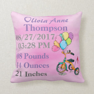 Girl Pink Watercolor Tricycle Trike Balloon Birth Throw Pillow