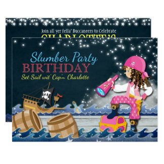 Girl Pirate Slumber Party Birthday Invitation
