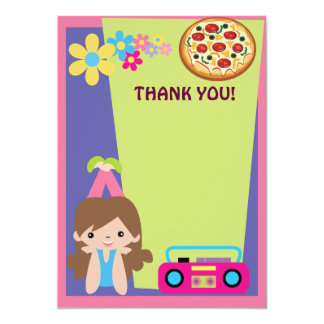 Girl Pizza Party Thank You Card