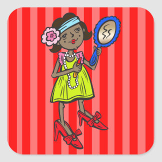 Girl Playing Dress Up Square Sticker