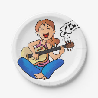 girl playing guitar 7 inch paper plate