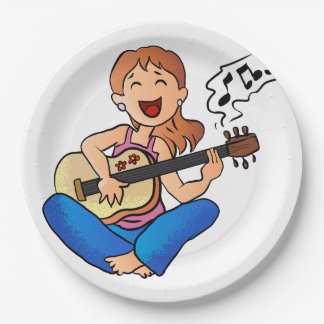 girl playing guitar 9 inch paper plate