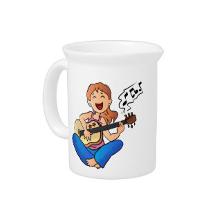 girl playing guitar beverage pitchers