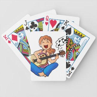 girl playing guitar bicycle playing cards