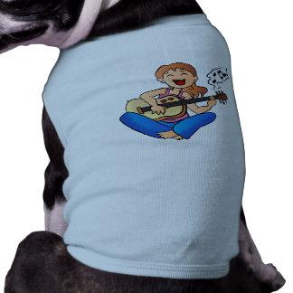 girl playing guitar doggie shirt