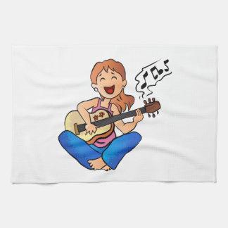 girl playing guitar hand towel