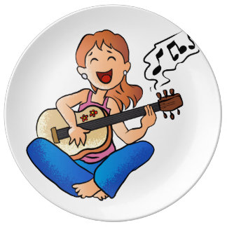 girl playing guitar porcelain plate