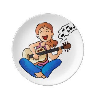girl playing guitar porcelain plates