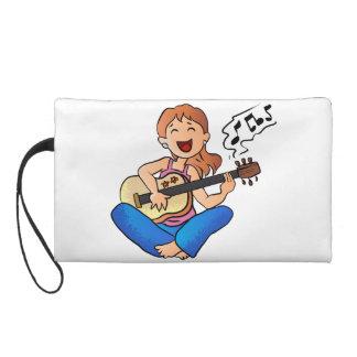 girl playing guitar wristlet purse