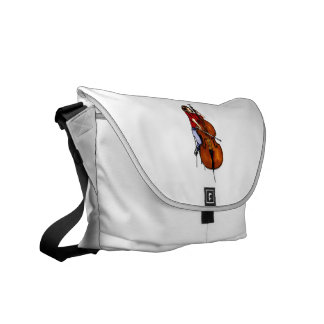Girl playing orchestra bass red shirt messenger bags