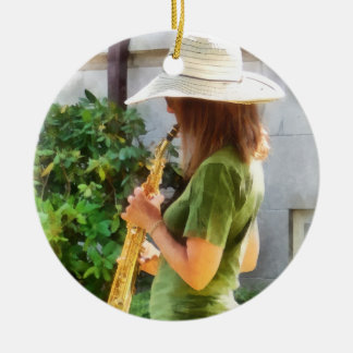 Girl Playing Saxophone Round Ceramic Ornament