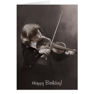 girl playing the violin birthday card