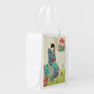Girl playing with a Cat, Utagawa Kuniyoshi Reusable Grocery Bag