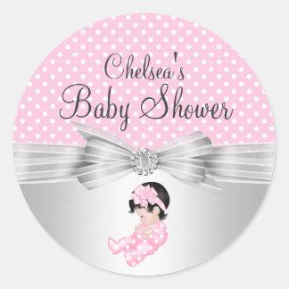 Girl Polka dot Baby Shower Sticker