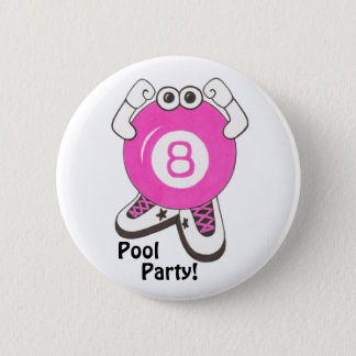 Girl Pool Partier 2 Inch Round Button