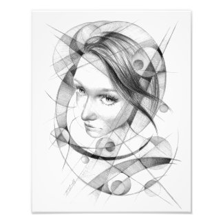 Girl portrait drawing with circles and lines photo print