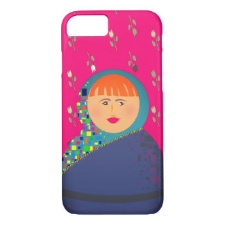 Girl Portrait Floral Pattern Pink Vibrant Bold iPhone 7 Case