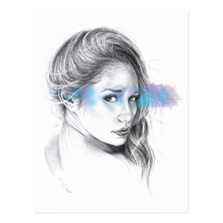 Girl portrait pencil art Postcard