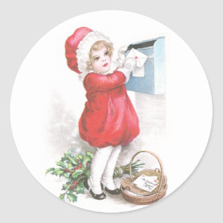 Girl Posting Letters Vintage Christmas Round Sticker