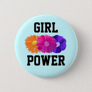 Girl Power and Flowers Button
