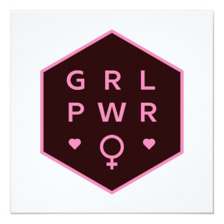 Girl Power | Black Colorful Graphic Design Card