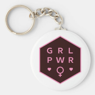 Girl Power | Black Colorful Graphic Design Keychain