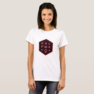 Girl Power | Black Colorful Graphic Design T-Shirt