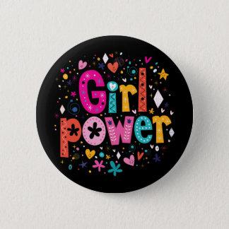 Girl Power Floral Heart Button